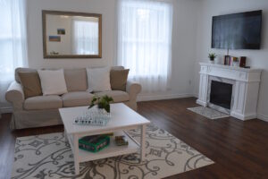 Bright Living Room - Upper Suite Serenity apartment. Port Franks Getaway spa retreat for adults only.
