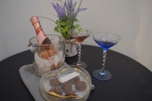 Rosé on Ice, Chocolate Macaroons, Colored Stemware - romance is in the air at the Pinery Bijou Suite, Port Franks Getaway, Ontario, Canada